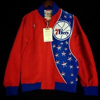 100% Authentic Mitchell & Ness Sixers Warm Up Jacket Size L 44 - dr j iverson
