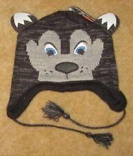 New Wolf Wolves Winter Earflap Knit Laplander Beanie Hat Ski Pilot NWT Husky Dog