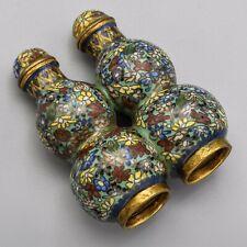 Ancien Chinois Double Gourde Forme Cloisonné Floral Tabac Bouteille 84.7 Grammes