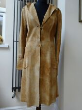 WOMEN BROWN YELLOW  COLOUR GENUINE LEATHER TRENCH JACKET COAT SIZE S