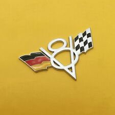 V8 Germany DE Flag Chrome Metal Front Grille Grill Emblem Badge For Volkswagen