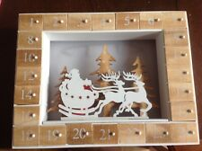 Wooden Advent Calender With LED Lights New With Tags