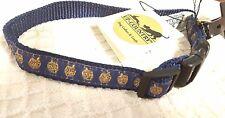 DRADEL DOG COLLAR,  BLUE & GLITTER GOLD adjustable, made in USA