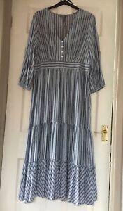 Maxi Dress By Principles Blue & White Size 16