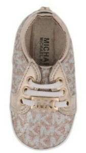 MICHAEL KORS BABY TINSEL CRIB SHOE ROSE GOLD INFANT BABY WEAR SNEAKERS