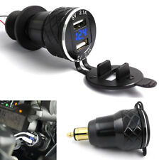 1x 4.2A Dual USB Adapter Blue Voltage Display Motorcycle Charger EU Plug For BMW