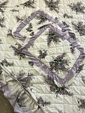 Vintage 60's 70's Full/Queen Bedspread 2 Shams Set Purple Lilacs Ruffle Floral