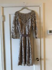 Tadashi Shoji Womens Gold Sequined Knee-Length Evening Dress 16 New