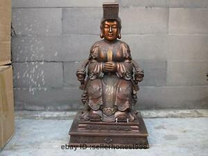 China Red Bronze phenix empress the Queen Mother of the West Goddess Statue