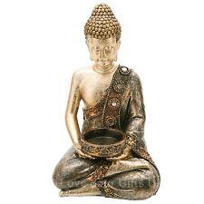Seated Gold Thai Buddha Tealight Holder 19cm High Candle Tea Light