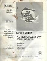 Sears Craftsman 7.25 In Circular Saw Owners Manual Model 315.10940