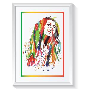 Bob Marley Framed Picture Print Pop Reggae Music Retro Abstract Wall Art A3 A4 1