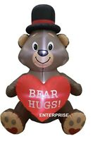 6FT VALENTINES DAY BEAR HUGS HEART AIRBLOWN INFLATABLE LIGHTED LED      IN STOCK