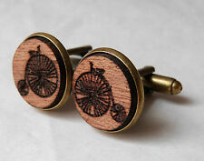 SALE Penny Farthing Bicycle Vintage Style Wood Mahogany Cufflinks Antique Brass