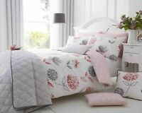 200 Thread Count Cotton Rich King Size Duvet Cover Set Pink & Grey Floral Design