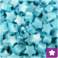 250 Light Blue Pearl 13mm Star Pony Beads Plastic Made in the USA