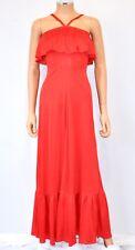 Vtg 70'S Candi Jones California Sz Sm/Xs, Red Tiered Ruffle Bust Maxi Dress Gown