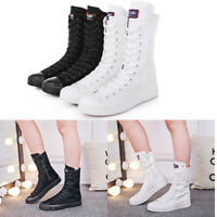 PUNK Women's Girl's Mid-High Shoes Lace Up Boot Zip Fashion Canvas Sneaker NEW