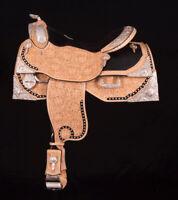 """Western show saddle 16"""" on Eco- leather buffalo with drum dye finished"""