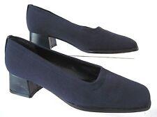 STUART WEITZMAN Navy Blue Fabric Square Toe Heels Pumps Size 4 B Spain