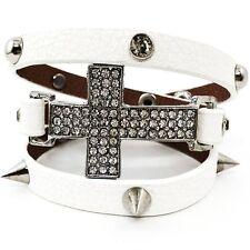 White Leather Cross Wrap Around Bracelet Clear Crystal Rhinestone Studs Spike
