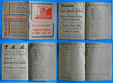 RARISSIMO CALENDARIETTO TASCABILE CAMPIONATO ITALIANO DI CALCIO 1938/39