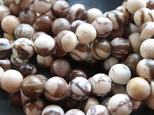 "BROWN ZEBRA JASPER 8mm beads, 15.5"", approx 49"
