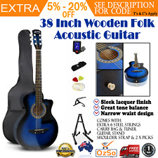 602aaa2b41d Acoustic Guitar 38 Inches 3/4 Blue Steel String Stand Strap Tuner Bag Capo  Kit