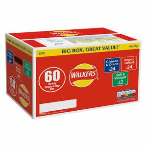 Walkers Variety Box Crisps, (60 x 25g), Cheese Onion, Ready Salted, Salt Vinegar