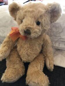 "Russ Berrie Vintage Teddy Bear Edward Honey colour orange bow 10""  Retired Plush"