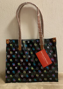 Dooney & Bourke IT Black/Multi BD Logo Medium Shopper Beach Work School Tote Bag