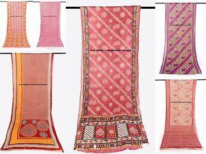 Vintage Indian Sari Pure Cotton Fabric Craft Used Lot Of 5 Multi color Sarees