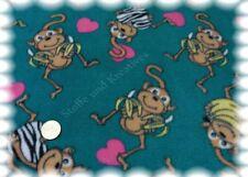 Polaire petit singe petrol polarfleece antipillingfleece 50 CM enfants tissu