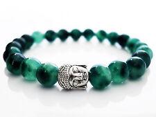 Handmade Semi Precious Stone Bracelet w/ Moss Agate Beads & Silver Buddha Head