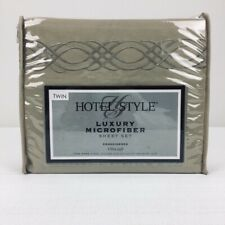 Hotel Style Twin Sheet Set Tan Embroidered Luxury Microfiber Ultra Soft