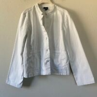 Eileen Fisher Women's White Collarless Button Front Jacket Small