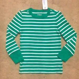 NWT Gymboree Girls Green & White Striped Long Sleeve (82) T-Shirt Top