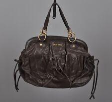 100% Auth MIU MIU by PRADA Brown Leather Handbag Bow Bag cb6220898e1d0
