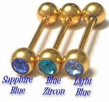 3 GOLD PL TONGUE Bars Barbell Rings - SAROVSKA CZs - Set #E Body Jewellery *