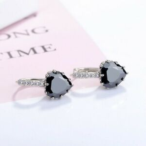 UK Black Heart CZ Earrings Sterling Silver Gift Boxed
