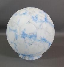 20s Art Deco Bohemian Loetz Blue Slag Satin Frosted Glass Lamp Light Shade Globe