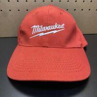 MILWAUKEE Power Tools Embroidered Logo adjustable Baseball Hat Cap Red  EUC