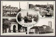 Postcard Wigan nr Skelmersdale SS Thomas leaving Pier and Grammar School 1940 RP