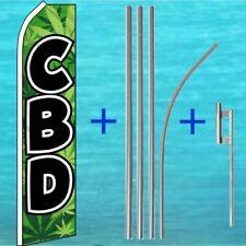 Cbd Flutter Flag + Pole Mount Kit Tall Advertising Sign Swooper Banner