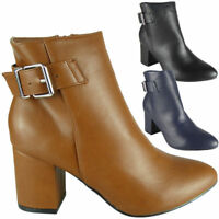 Women Ankle Boots Ladies Buckle Winter Fashion Casual Zip High Heel Shoes Size