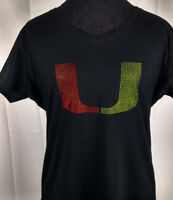 Women's Miami Hurricanes Rhinestone Football V-neck T-Shirt Tee Bling Lady