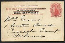 Nigeria/OIL RIVERS covers 1894 PC Old Calabar to Ireland