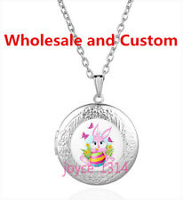 Easter Rabbit Cabochon Tibetan silver Glass Locket Pendant Necklace HZ-4545