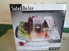 New listing Prodyne Salad On Ice Clear Acrylic Bowl With Ice Compartment Vent & Servers New