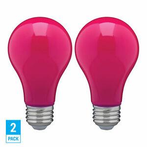 2 Pack CERAMIC PINK LED Bulb A19 Medium E26 8W 60 Watt Equivalent Damp Location